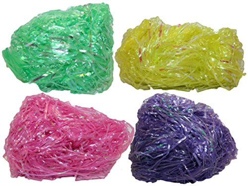 Set of 8 OZ Easter Grass! 4 Iridescent Colors! Beautiful Easter Grass Perfect for Easter Baskets, Decorations, or Arts and Crafts! (Plastic Iridescent 8 OZ MIX)