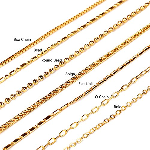 U7 Chain 7 Types Men/Women Jewelry Pendant Chain 2mm-3mm Wide 18K Gold Plated Necklace (Rolo/Rope/Link/Box Chain) - O Shape Chain