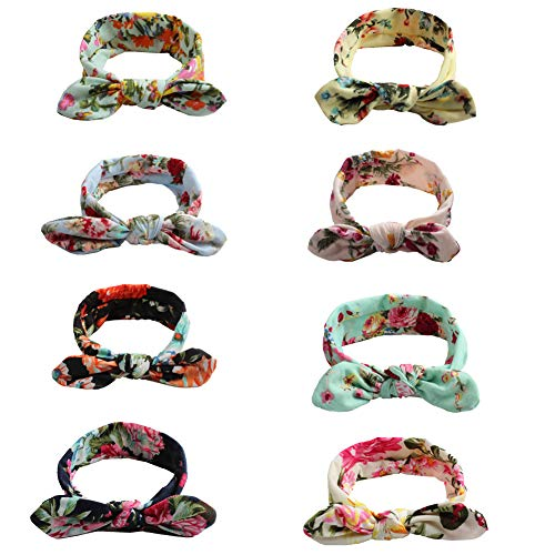 Baby Girl Headbands Vintage Flower Printed Elastic Head Wrap Twisted Hair Accessories for Bohemian Floral Style (Bohemian Floral 8 Pack)