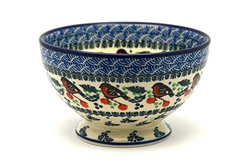 Polish Pottery Bowl - Pedestal - Small - Red (Gallery Pedestal Bowl)