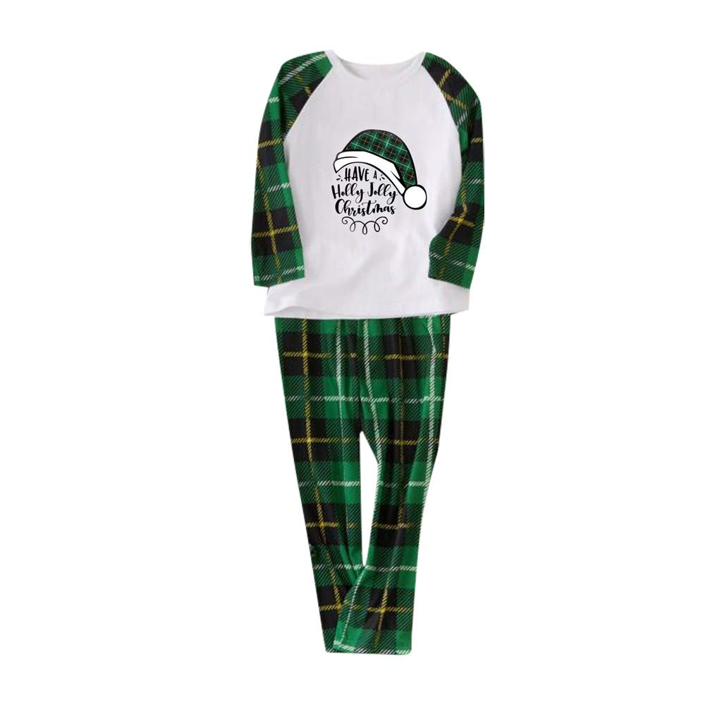 Voberry Matching Family Pajamas Sets Christmas PJ's Holiday Xmas Hat Printed Sleepwear with Plaid Pants Upgrade 2019 by Voberry@123