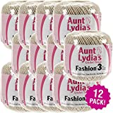 Aunt Lydia's 96903 Pk Fashion Crochet Thread Size 3-Natural, Multipack of 12, Pack