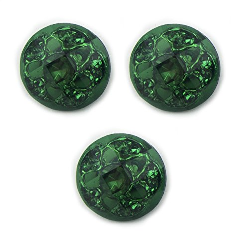 (HAND No.06 Green Luxurious Fashion Crystal Buttons 16 mm Diameter - Pack of 3)