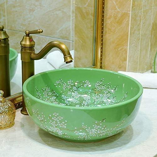 ZGQA-GQA ラウンドアート盆地/洗面台/キャビネット盆地/洗面セラミックバス洗面実用的で美しいです ミキサーシンク用の浴室キッチン盆地タップ (Color : Green)