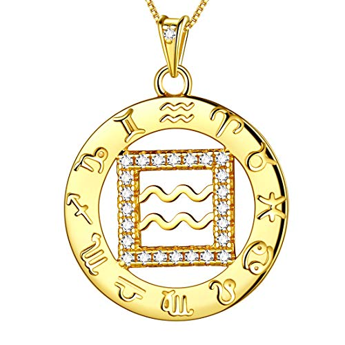 - Aurora Tears Aquarius Necklaces Horoscope 925 Sterling Silver Zodiac Constellation Women 18k Gold Plated Crystal Cubic Zirconia Round Coin Zodiac Star Sign Pendant Girls Charm Dating Jewelry DP0111P-Y
