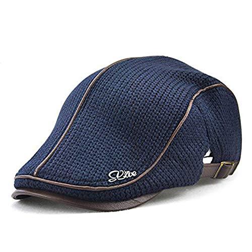 LAOWWO Flat Cap Mens Knit Flat Cap Duckbill Ivy Irish Winter Cap Newsboy Cabbie Scally Beret Cap Hat