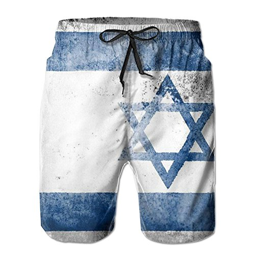 Summer Quick Drying Mens Flag of Israel Classic Fit Cyc Beac
