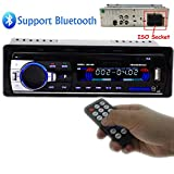 Polarlander Car Radio Audio USB/SD/MP3 Player Receiver Bluetooth Hands-free with Remote Control Black 1 Din