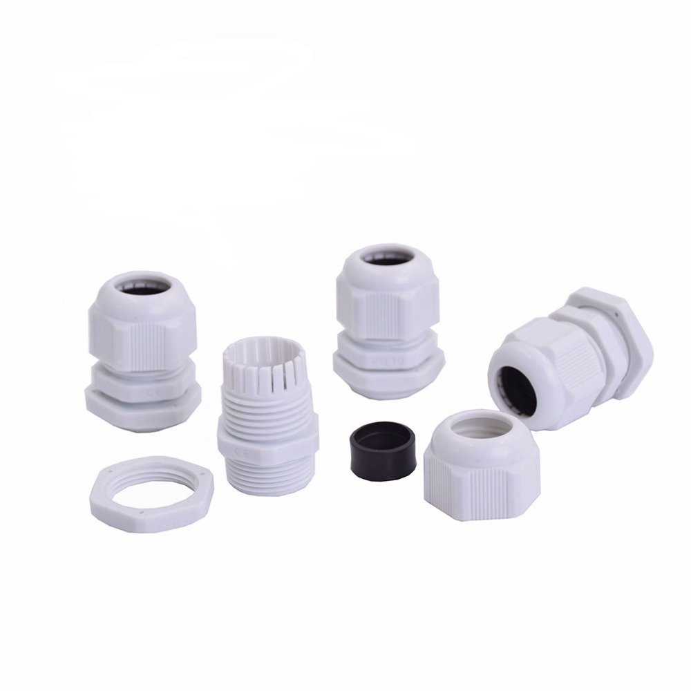 Cable Glands Suyep PG19 Black White Waterproof Adjustable Nylon Connectors Joints With Gaskets 12-16mm For Electrical Appliances (20, White)