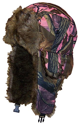 Best Winter Hats Adult Tree Camouflage Russian/Hunters W/Soft Faux Fur Winter Hat(One Size) - Pink