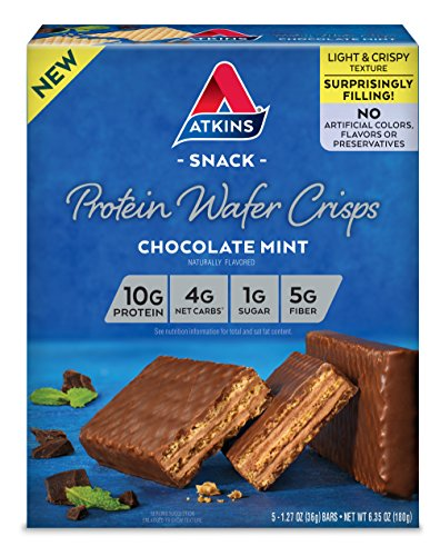 Atkins Protein Wafer Crisps, Chocolate Mint, 5 Count, 6.35 Ounce