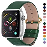 Fullmosa Compatible Apple Watch Band 42mm 44mm 40mm 38mm Leather Compatible iWatch Band/Strap Compatible Apple Watch Series 5 4 3 2 1, 42mm 44mm Dark Green + Golden Buckle