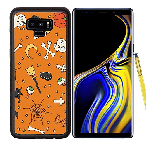 Luxlady Samsung Galaxy Note 9 Case Aluminum Backplate Bumper Snap Cases Image ID: 31443678 Happy Halloween Seamless Pattern with Pumpkins Skulls Cats Spider s Web -