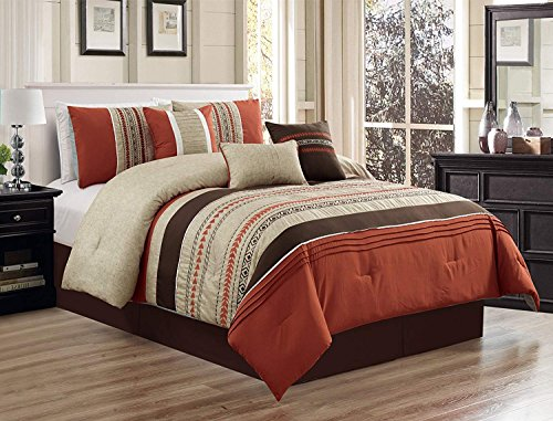 Set Spice Queen Comforter (Luxlen 7 Piece Oversized Luxury Embroidery Bed in Bag Microfiber Comforter Set (Spice, Queen))