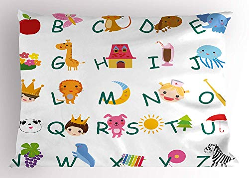 MTDKX Educational Pillow Sham, Cute Kids Alphabet with Fruits Animals Prince Princess Cheerful Colorful Design, Decorative Standard Queen Size Printed Pillowcase, 30 X 20 inches, Multicolor