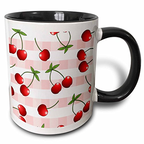3dRose (mug_24733_4) Cherry Print Juicy Red Cherries on Pink Check - Two Tone Black Mug, 11oz
