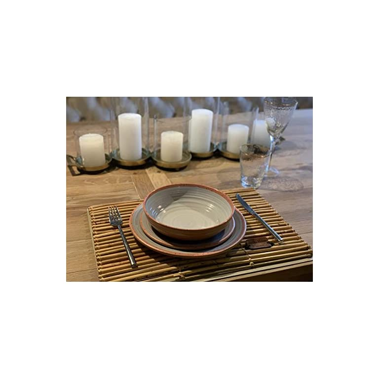 Camping Geschirrset für 4 Personen aus Melamin Picknick Geschirr Campinggeschirr Tafelgeschirr Terra Cotta Style