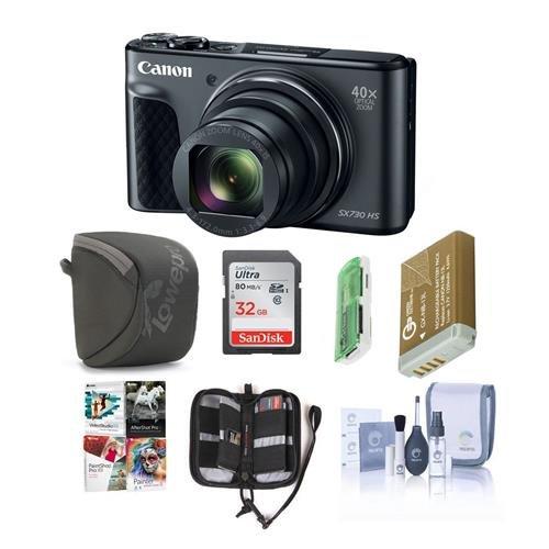 Canon PowerShot sx730 HSデジタルPoint & Shoot Camera、ブラック – Bundle with 32 GB SDHCカード、カメラケース、スペアバッテリー,クリーニングキット、メモリ財布、カードリーダー、ソフトウェアパッケージ   B07FMQMJTG