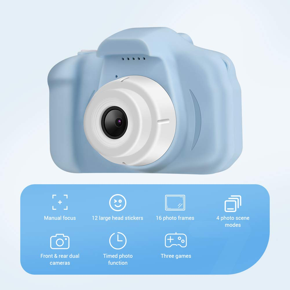 Enow Kids Camera, 16MP 1080P HD Child Digital Video Rechargeable Cameras Toys with Soft Silicone Shockproof Shell for Age 3-14 Boys Girls Outdoor Play, Mini Cartoon Blue (32GB Memory Card Included)