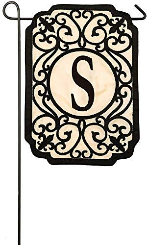 Evergreen Flag Filigree Monogram S Applique Garden Flag, 12.5 x 18 inches (Flag Monogram)