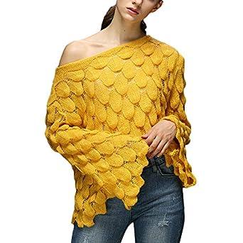 Linlink Mujeres Casual Invierno O-Cuello Manga Larga Suelta suéter ...