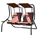 Outdoor Patio 2 Person Swing Chair Porch Padded Loveseat Hammock Canopy Coffee
