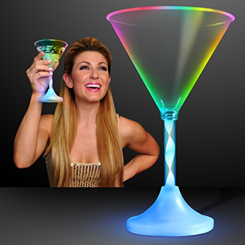 Light Up Martini Glasses with Color Changing LED Light & Long Spiral Stem (Set of 4) by FlashingBlinkyLights