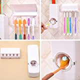 🤷‍♂️🤷 Toothpaste Dispenser Automatic with 5 Toothbrush Holder with Sticky Suction Pad