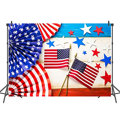 Mehofoto American Flag Backdrops for Baby Shower Independence Day Backdrop Starry Patriotic Flags Photo Background for Children Kids Newborn Baby 7x5