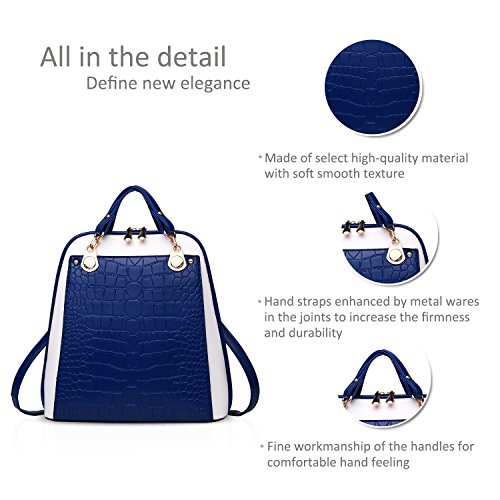 NICOLE&DORIS mochila bandolera señoras / las mujeres de doble bolsa de viaje de la universidad del viento de la moda para los estudiantes(Black and White) Azul y blanco
