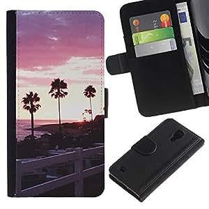For Samsung Galaxy S4 IV I9500 Case , Trees Evening Sky Sunset - la tarjeta de Crédito Slots PU Funda de cuero Monedero caso cubierta de piel