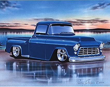 1955 Chevy Truck >> 1955 56 Chevy 3100 Stepside Pickup Hot Rod Truck Art Print Blue 11x14 Poster