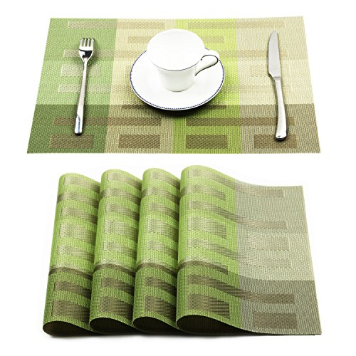 Borlan Placemats Vinyl Dining Table Mats Heat Resistant Place Mats for Kitchen Table Set of 4(Green) (Kitchen Table Accessories)