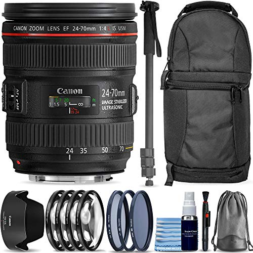 Canon EF 24-70mm f/4L is USM Lens + Sling Backpack + 3 Piece Pro Filter Kit + Lens Pen + Lens Cleaning Kit 14-Piece Pro Travel Bundle