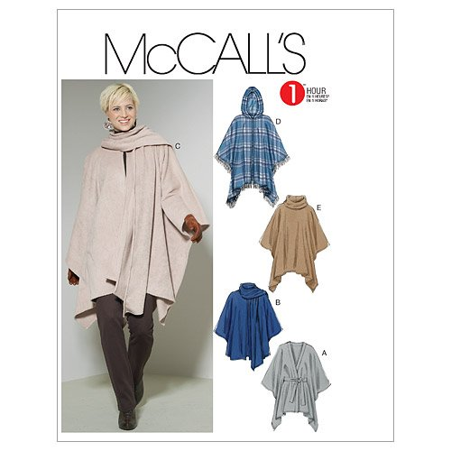 McCall's Patterns M6209 Misses' Ponchos and Belt, Size ZZ (LRG-XLG-XXL) ()