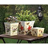 Cheap Garden Planters Indoor Outdoor Box Corner Window Ornament Multiple Pots House Patio (Set of 3)