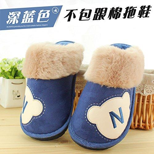 Fankou inverno di grandi dimensioni il cotone pantofole uomini pack con fondo spesso anti-slittamento indoor e outdoor caldo peluche 464748 ampia e grande, 310 adatto per indossare 45-46 metri, blu sc