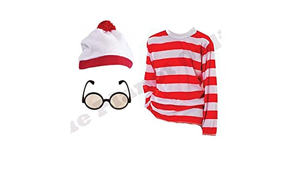 Boys Girls Fancy Dress Red and White Hat Glasses Striped Jumper