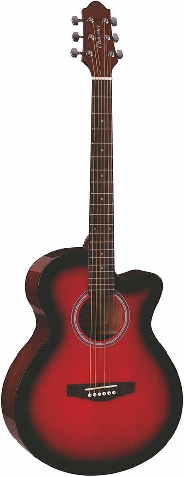 Clevan 6 cuerdas MJ-10 Mini Jumbo Cutway guitarra acústica, SDB ...