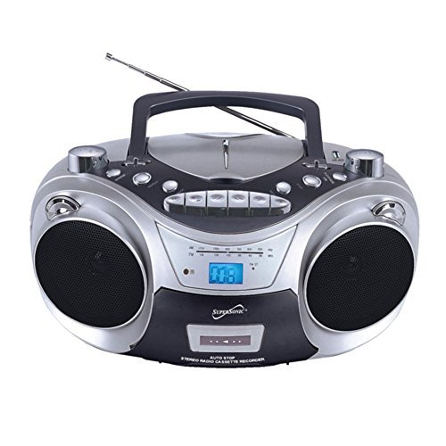 Supersonic SC-709 Portable Boombox CD Player Silver Electronic Accessories