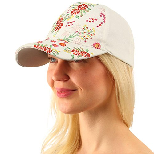 White Hat Ball - Fancy Floral Embroidered All Season Cotton Baseball Cap Sun Hat Adjustable White