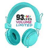 Kids Headphones,AILIHEN HD850 Volume Limiting On Ear Headset with SharePort and Microphone, Children Headphones for Kids, Computer Tablets Laptops Android IOS Smartphones Cellphones (Turquoise)
