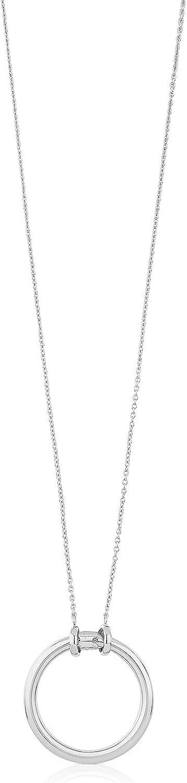 TOUS Collar con colgante mujer, Colección HOLD, plata primera Ley, Largo 90 cm, Anilla: 2,8 cm