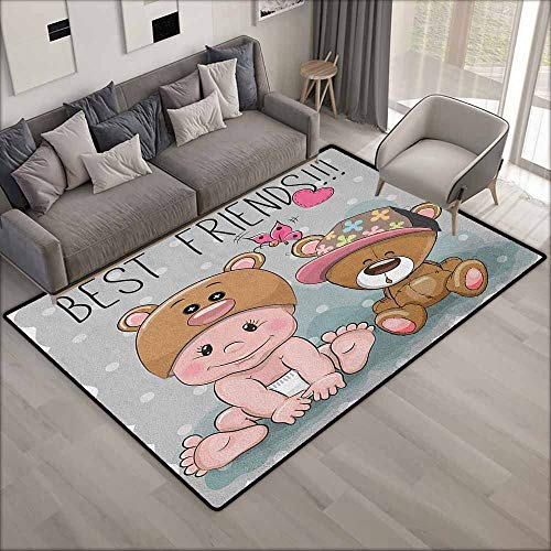 Living Room Area Rug,Butterfly Cute Cartoon Baby in Bear Hat and Teddy Bear with Butterflies Best Friends Print,Ideal Gift for Children,6'6