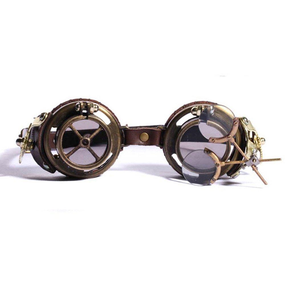 KEHUASHINA Retro Runde Steampunk Sonnenbrille Männer Polarisierte Punk Sonnenbrille für Frauen Gothic Goggles Gläser für Cosplay Eyeglasse