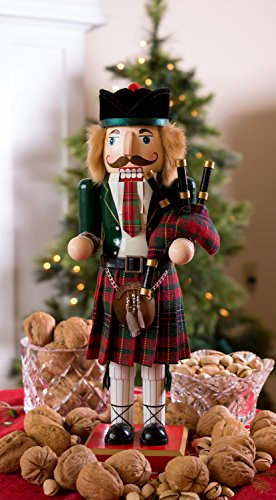 "Clever Creations Scottish Wooden Collectible Nutcracker Wearing Scottish Kilt, Green Coat, and Plaid Hat with Bagpipes | Festive Decor | Perfect for Shelves and Tables | 100% Wood | 14"" Tall by Clever Creations (Image #4)"