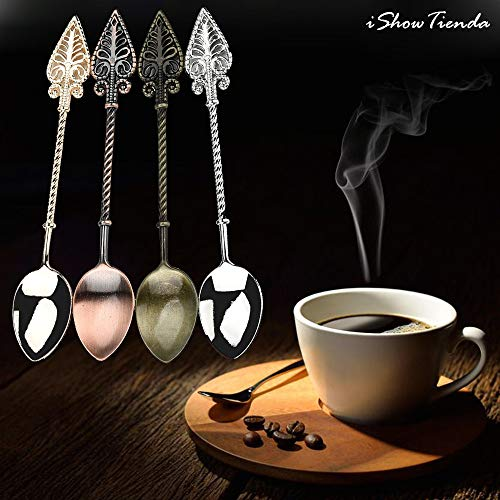 ShoppyStar 1pc 11cm Retro Coffee Spoon Sugar Tea Dessert Cake Cutlery Kitchen Tableware New Coffee Spoon Seasoning spoon: Coffee Spoon, A, United States ()