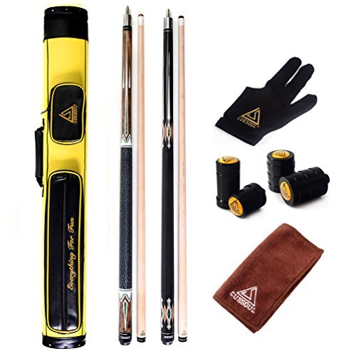 CUESOUL Set of House Bar Pool Cue Sticks Combo - 2 Cue Sticks Packed in 2x2 Hard Pool Cue Case E206
