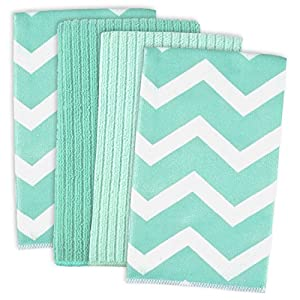 DII Microfiber Multi-Purpose Cleaning Towels Perfect for Kitchens, Dishes, Car, Dusting, Drying Rags, 16 x 19, Set of 4 - Aqua Chevron
