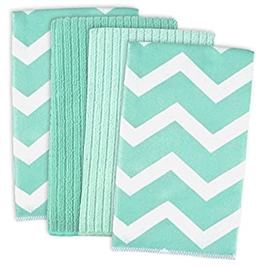 DII Cleaning, Washing, Drying, Ultra Absorbent, Microfiber Chevron Dishtowel 16x19  (Set of 4) - Aqua